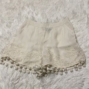 Top Shop Cream Embroidered Dressy Shorts